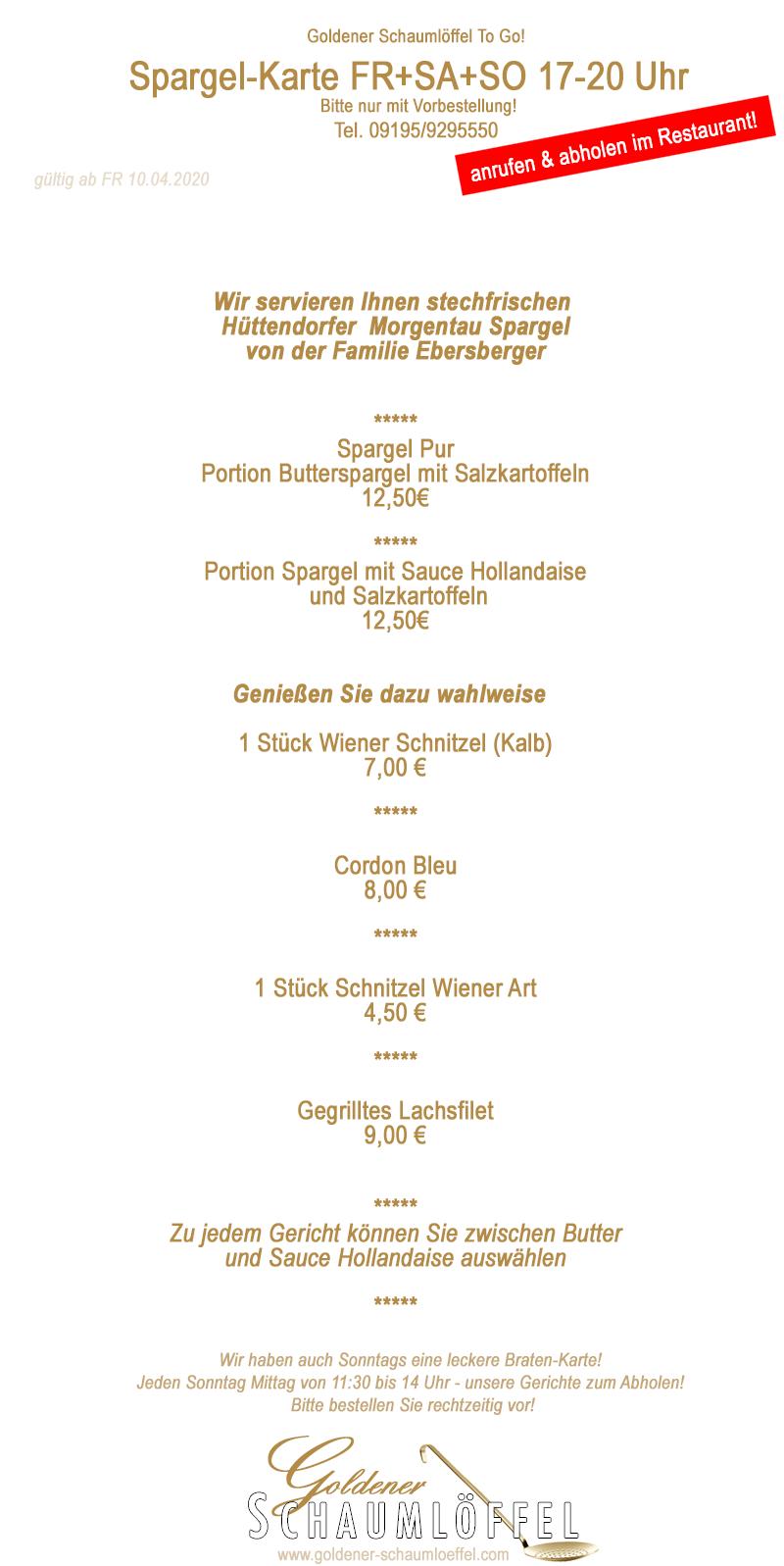 """Spargelkarte 2020 Goldener Schaumlöffel """"To Go"""""""
