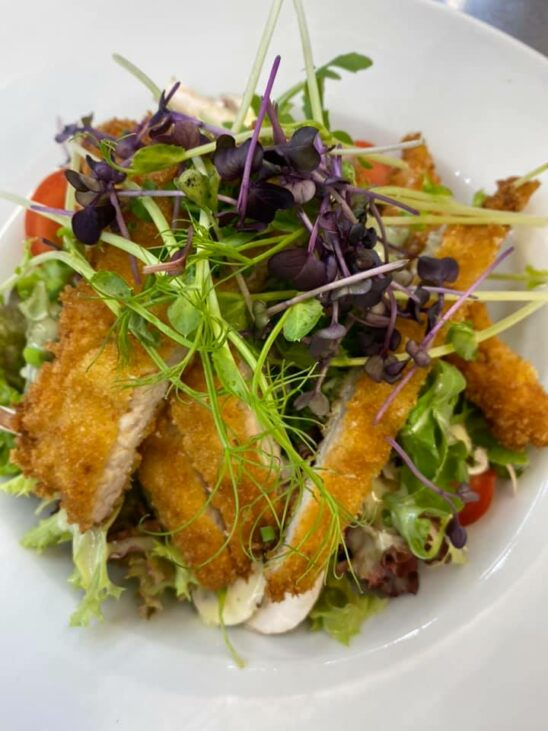 Pfannenschnitzel-Streifen auf buntem Salat-Teller